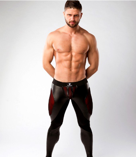 Maskulo Armored Color Under Men's Fetish Leggings Zipped Rear