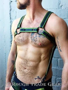 METALLIC FETISH BULLDOG EXTREME HARNESS GREEN