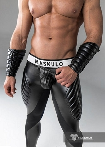 Maskulo Mens Fetish Leggings Codpiece Zipped Rear Black