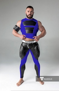 Maskulo Mens Fetish Leggings Codpiece Zipped Rear Royal Blue