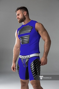 Maskulo Men's Fetish Tank Top Spandex / Front Pads / Royal Blue