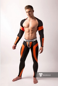 Maskulo Men's Fetish Top Spandex. Long Sleeves Neon Orange