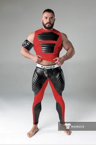 Maskulo Mens Fetish Leggings Codpiece Zipped Rear Red