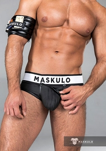 Maskulo Rubber look Briefs Detachable pouch Zippered rear Black