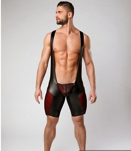 Maskulo Armored Color Under Men's Fetish Wrestling Singlet With Zipped Rear