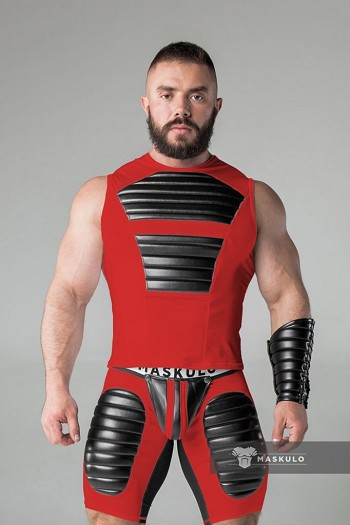 Maskulo Men's Fetish Tank Top in Spandex with Front Pads in Red