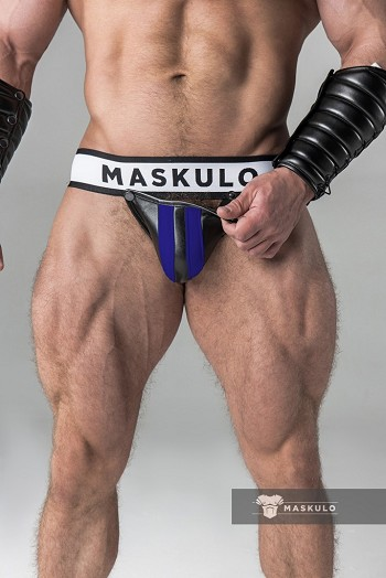Maskulo Men's Fetish Jockstrap with Detachable Codpiece in Royal Blue JS10-62