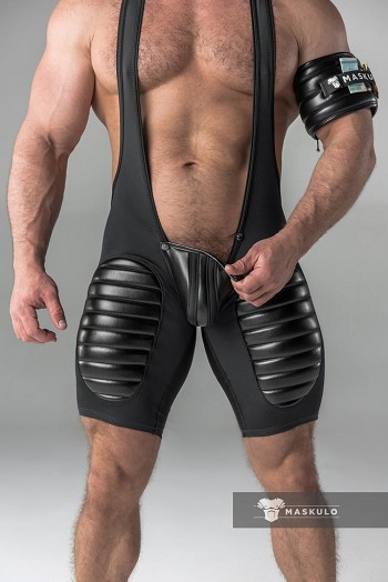 Maskulo Men's Fetish Wrestling Singlet with Codpiece and Thigh pads in Black