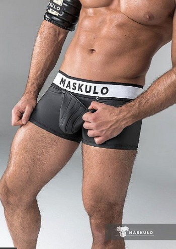 Maskulo Rubber look Trunks Detachable pouch Black tr21-90